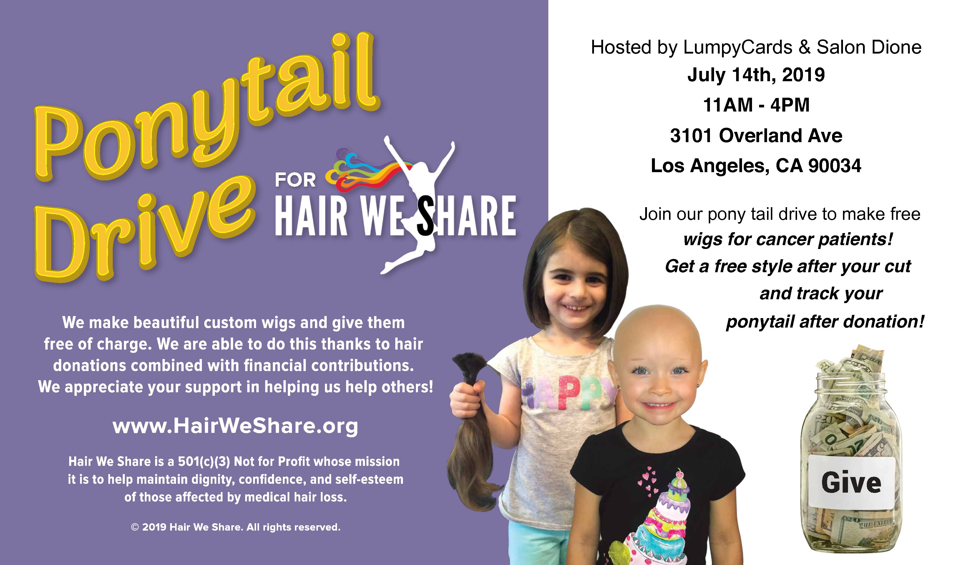 Ponytail Drive Hosted by LumpyCards and Salon Dione